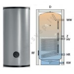 ES.0150 nerūdijančio plieno talpa su vienu šilumokaičiu
